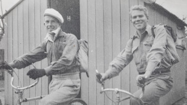Richard 'Dick' Woods and Alan McArthur riding from Canberra to Batemans Bay via the Clyde Mountain in 1943.