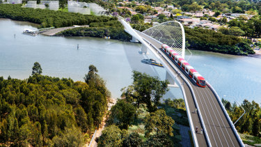 An artist's impression of a bridge over Parramatta River between Melrose Park and Wentworth Point.