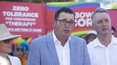 Victorian Premier Daniel Andrews announces his plan to ban gay conversion therapy in his state.