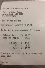 Receipt for lunch with actor John Wood.