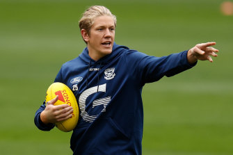 Rhys Stanley at training in Adelaide on Wednesday.