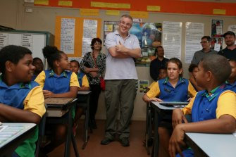 Prime Minister Scott Morrison visiting a classroom in Cape York in mid-2017.
