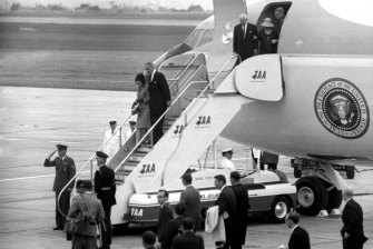 L.B.J arrives in Melbourne.