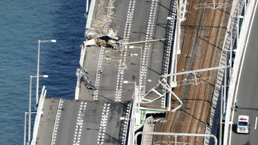 The damaged bridge connecting Kansai International Airport in Osaka a day after typhoon Jebi caused a tanker to slam into its side.