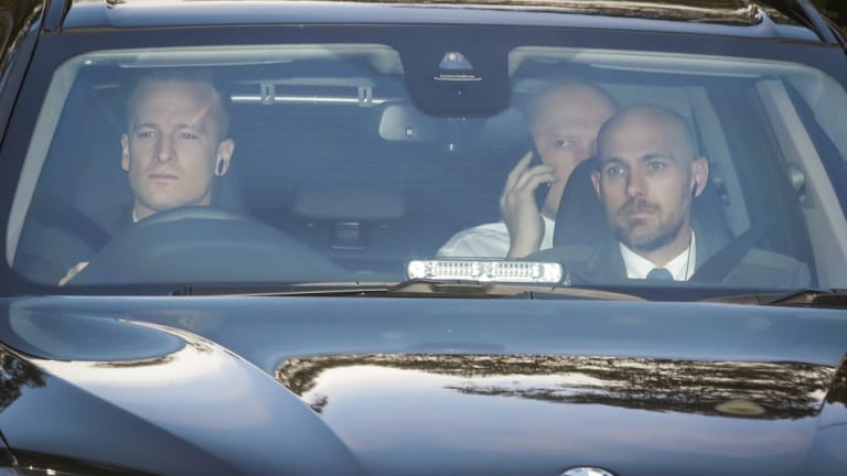 Peter Dutton arrives at work this morning.
