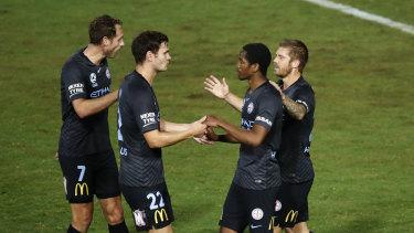 England youth international Shayon Harrison celebrates his goal against Sydney FC.