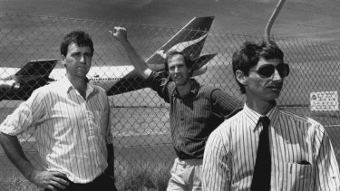 Outsiders ... former Ansett pilots Tom Hopewell and brothers Chris and Alex Paterson, are weighing their options, October 30, 1989.