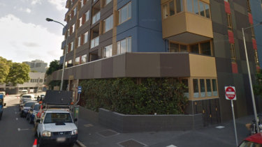 The apartments on Constance Street from which the man fell three stories to the footpath below.