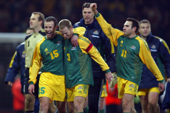 By design: Lucas Neill and Craig Moore, pictured playing for Australia in 2003, are part of a lobby group pushing for a new blueprint.