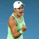 Barty starter: Australia's world No.1 reacts in delight after claiming her first win in four matches against America's Alison Riske.
