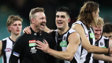 Last laugh: Nathan Buckley after the victory over Melbourne.