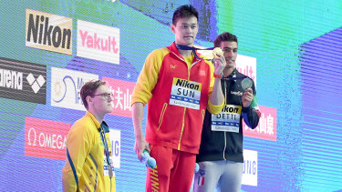 Mack Horton AUS protests Sun Yang's Gold Medal after the 400m freestyle final at the FINA World Champioships.