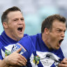 Josh Morris (right) hasn't played with twin brother Brett at club level since their Bulldogs days.
