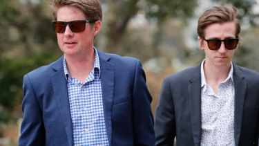 Jarrod McLean, left, and William Hernan arrive at Racing Victoria for the hearing.