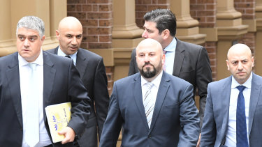 The Obeid family lost their lawsuit against the ICAC.  Photo shows, from left at front, lawyer Nick Di Girolamo, Moses Obeid, Eddie Obeid jnr, and Paul Obeid.