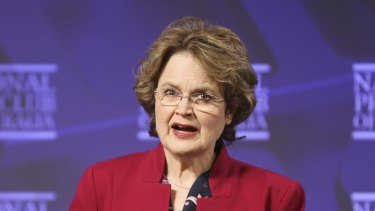 The outgoing secretary of the Department of Foreign Affairs and Trade (DFAT), Frances Adamson, addresses the National Press Club on Wednesday.