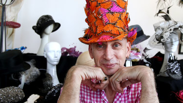 COVID couture headwear: Sydney milliner Neil Grigg.