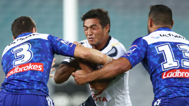 Concerning: Te Maire Martin (centre) suffered a brain bleed in the wake of this match against the Bulldogs in round seven.