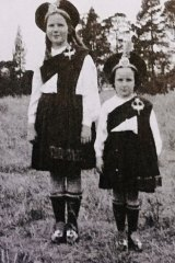 Geraldine Ryan (then Geraldine O'Shea), right, aged five, with sister Nancy in 1935.