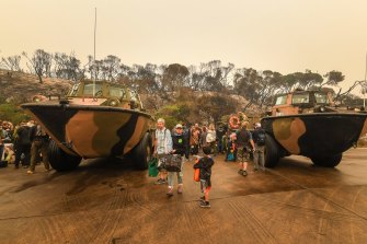The army's existing fleet of amphibious vehicles proved helpful in the Mallacoota evacuation.