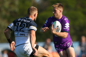 Can't touch this: Melbourne Storm star Cameron Munster puts on a dominant display against the Cowboys.