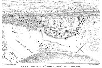 This map, published in a history of Ballarat in 1870, shows the curved stockade.