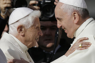 Pope Benedict XVI promised Pope Francis he would remain hidden from the world when he abdicated.