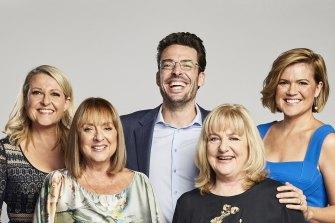 Studio 10's 2018 presenters Angela Bishop, Denise Drysdale, Joe Hildebrand, Denise Scott and Sarah Harris.