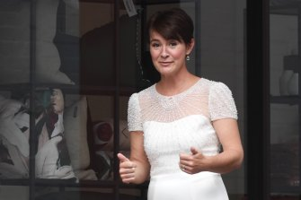 Thumbs up: Miche Paterson arrives at her intimate wedding to media power broker John Hartigan in Paddington on Friday.