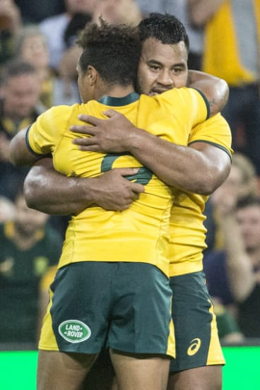 Will Genia and Tupou embrace after the final whistle.