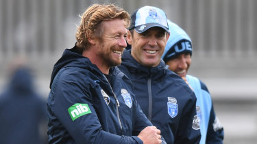 Hollywood comes to Coogee: Actor Simon Baker with Brad Fittler and Andrew Johns at Blues training.