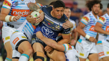 Real handful: Jason Taumalolo made a powerhouse return for the Cowboys on Friday night.
