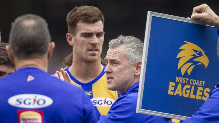 Coach Adam Simpson (centre) is eyeing off top spot on the premiership ladder.