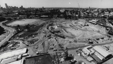 The progress of the new sports ground taken from one of the light towers at the SCG, December 17, 1986