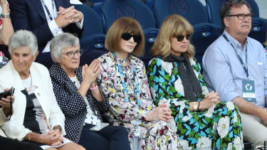 'Vogue' editor-in-chief Anna Wintour watching the tennis at Rod Laver Arena on Tuesday.