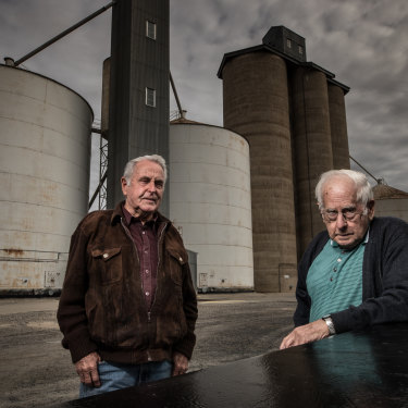 Lifetime grain and sheep farmers Ron Smith and George Allitt, in Jeparit.