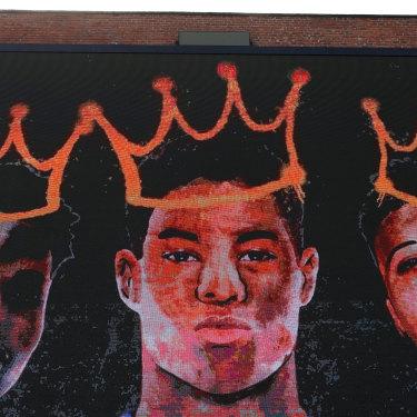 A new mural in Manchester celebrating Marcus Rashford, Jadon Sancho and Bukayo Saka.