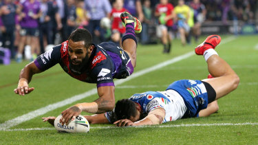Another fiver: Josh Addo-Carr scores in the corner for the Storm.