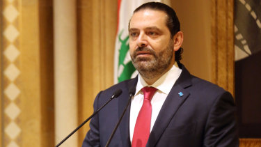 Saad Hariri, Lebanon's prime minister, announces his resignation to the country in a televised address in Beirut.