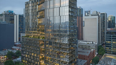 An artist's impression of Argo Group's 23-level office tower in Little Bourke Street.