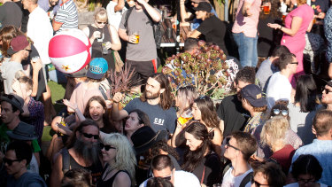 Simpler times: the Sydney Road street festival, part of the Brunswick Music Festival, in 2017.