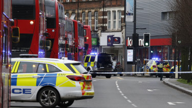 Police at the scene in Streatham in south London.