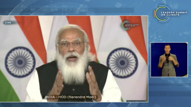 Indian PM Narendra Modi speaks during the US-hosted virtual Leaders' Summit on Climate in April.
