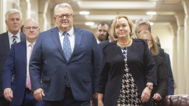New team: National Party leader Judith Collins, right, with new deputy leader Gerry Brownlee, front left, in Wellington, New Zealand.