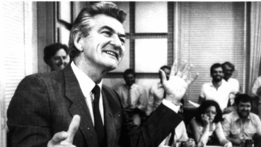 Bob Hawke at a Canberra press conference in 1983.