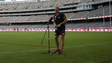Family values: Demons coach Simon Goodwin at Optus Stadium in Perth.