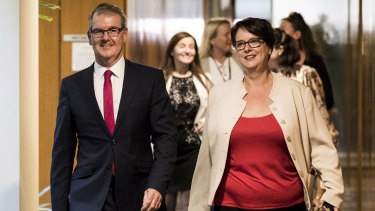 Michael Daley and his new  Deputy Leader Penny Sharpe leave the NSW Labor Party leadership ballot.