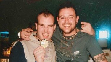 Jarrad Lovison (left) with friend Adam Reddiex.