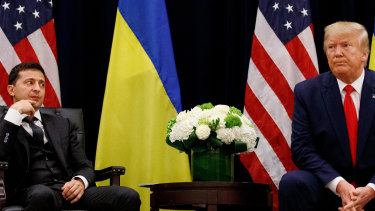 US President Donald Trump with Ukrainian President Volodymyr Zelenskiy in 2019. The attacks coincided with an impeachment inquiry into whether Trump abused his office by pushing Ukraine to investigate Burisma and Hunter Biden.