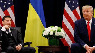 US President Donald Trump with Ukrainian President Volodymyr Zelenskiy in 2019.